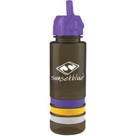 Personalized Tritan Stripe Bottle with Flip Straw