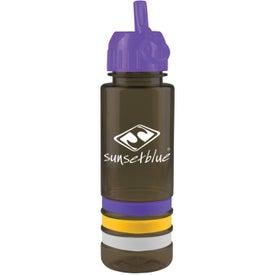 Personalized Tritan Stripe Bottle with Flip Straw
