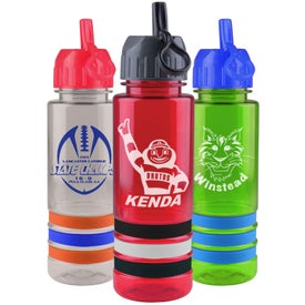 Promotional Tritan Stripe Bottle with Flip Straw