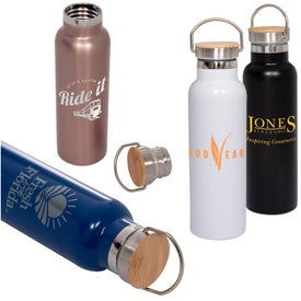 Vacuum Bottle with Bamboo Lid (20 Oz.)