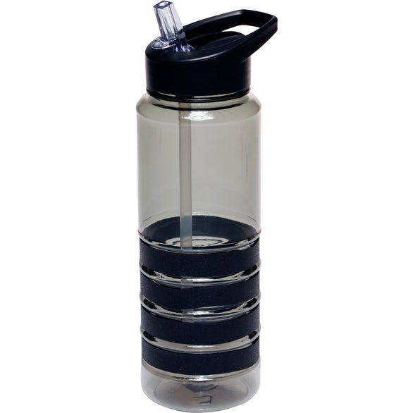 Black Water Bottle with Straw