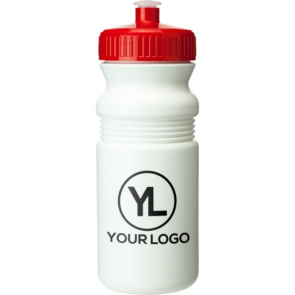 White / Red Plastic Sports Water Bottle