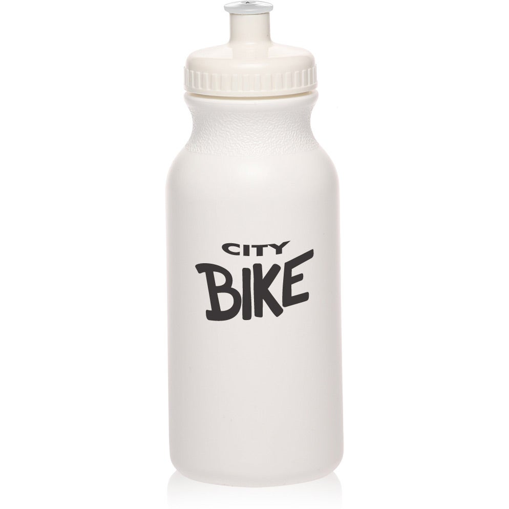 White Water Bottle with Push Cap