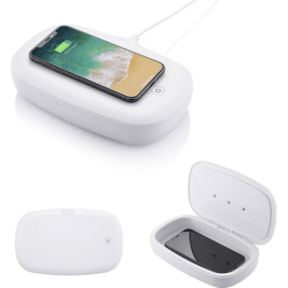 White UV Phone Sanitizer with Wireless Charger