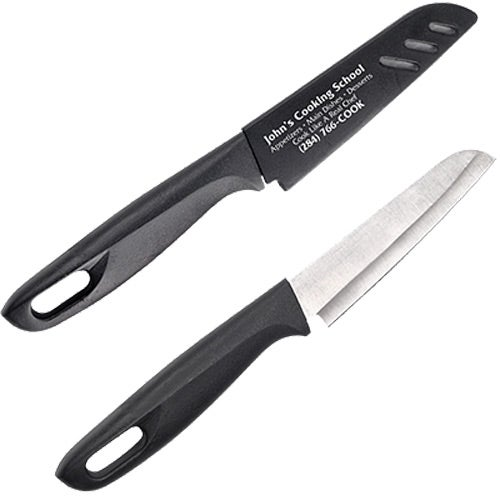 Black / Silver Kitchen Utility Knife with Sheath
