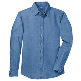 Port and Company Long Sleeve Denim Shirt Printed with Your Logo
