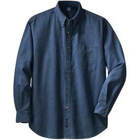 Printed Port and Company Long Sleeve Denim Shirt
