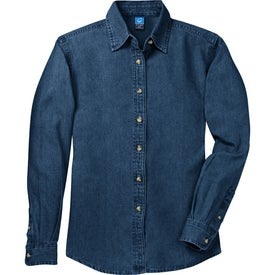 Port and Company Ladies Long Sleeve Denim Shirt with Your Logo