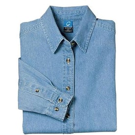 Port and Company Ladies Long Sleeve Denim Shirt