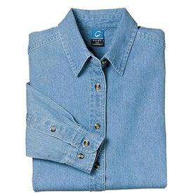 Port and Company Ladies Long Sleeve Denim Shirt