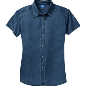 Port and Company Ladies Short Sleeve Value Denim Shirt for Customization