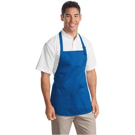 Printed Port Authority Mid-Length Apron with Pouch Pockets