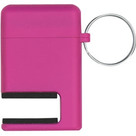 Imprinted 2 In 1 Phone Stand and Screen Cleaner With Key Ring