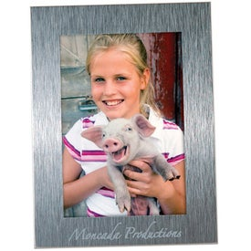 2 1/2 x 3 1/2 Brushed Mini Silver Frame Branded with Your Logo