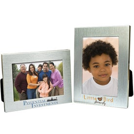 2 1/2 x 3 1/2 Brushed Mini Silver Frame Printed with Your Logo