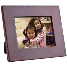"3.5"" Wooden Digital Frame Imprinted with Your Logo"