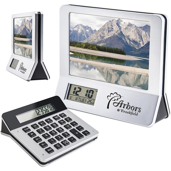 Silver / Black 3 in 1 Calculator Picture Frame LCD Digital Clock