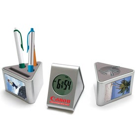 3 Piece Frame And Desk Set Clock Imprinted with Your Logo