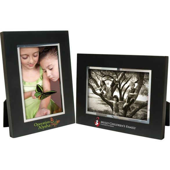 4 x 6 Black Wood Frame with Silver Bevel