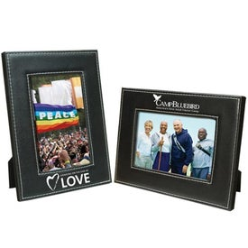 4 x 6 White Stitch Frame Branded with Your Logo