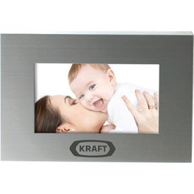 Brushed Silver Metal Frame Branded with Your Logo