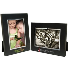 5 x 7 Black Wood Frame with Silver Bevel Branded with Your Logo