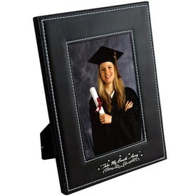 5 x 7 White Stitch Frame with Your Slogan