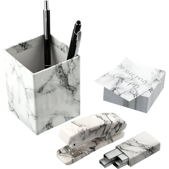 Marble 5 Piece Faux Marble Desktop Set