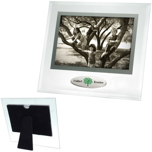 6 x 4 Beveled Glass Frame with Metal Accent