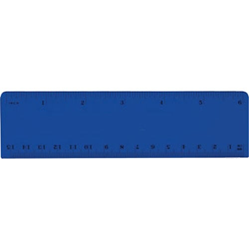 Translucent Blue Plastic Beveled Ruler