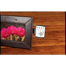 "7"" Leather Digital Photo Frame Imprinted with Your Logo"