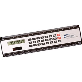 "Company 8"" Black Edge Ruler/Calculator"