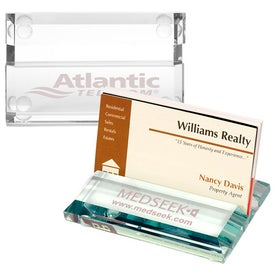 Customized Atrium Glass Business Card Holder