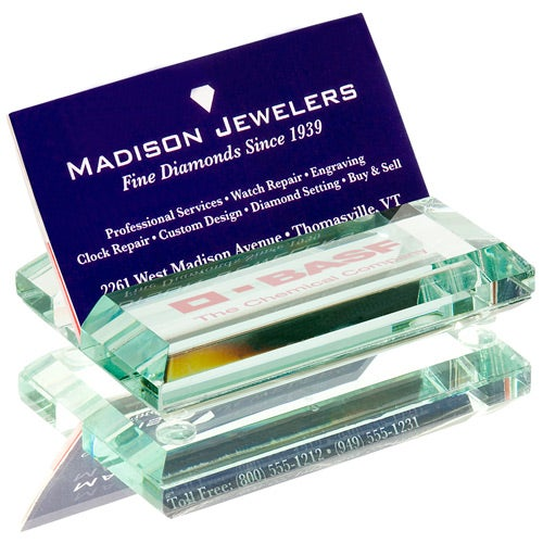 Promotional atrium glass business card holders with custom logo for clear atrium glass business card holder giveaways colourmoves