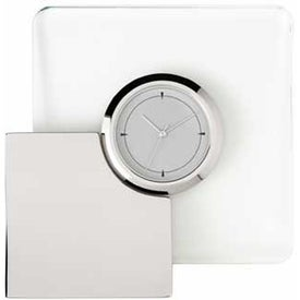Augmenter Silver and Glass Desk Clock with Your Logo