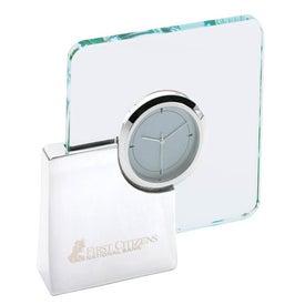 Augmenter Silver and Glass Desk Clock