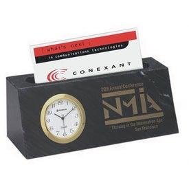 Black Marble Card Holder Clock
