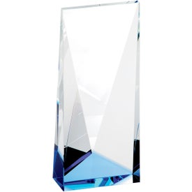 Company Blue Accent Crystal Tower Award