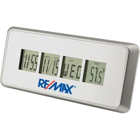 Brushed Metal LCD Digital Alarm Clock with Your Logo