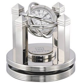 Monogrammed Celestial Clock - Silver