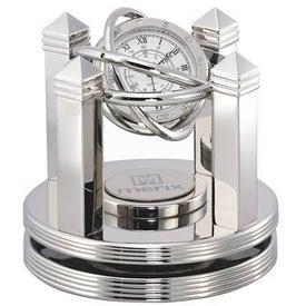 Monogrammed Celestial Clock - Silver