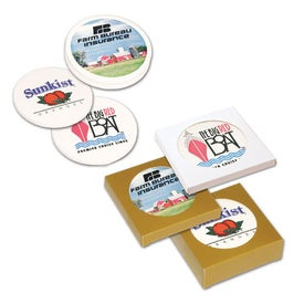 "Ceramic Coaster 4 Pack Gift Set (0.25"" x 4.25"" Dia.)"