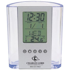 Clear Pen Cup with Digital Alarm Clock and Thermometer