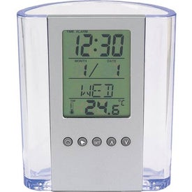 Clear Pen Cup with Digital Alarm Clock and Thermometer for Promotion