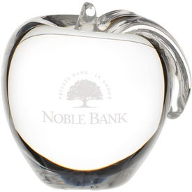 Crystal Apple Paperweight Branded with Your Logo