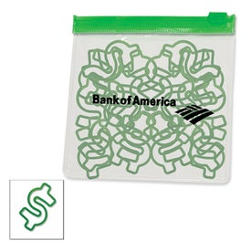 Dollar Sign Rubber Bands in Clear Pouch with Trim