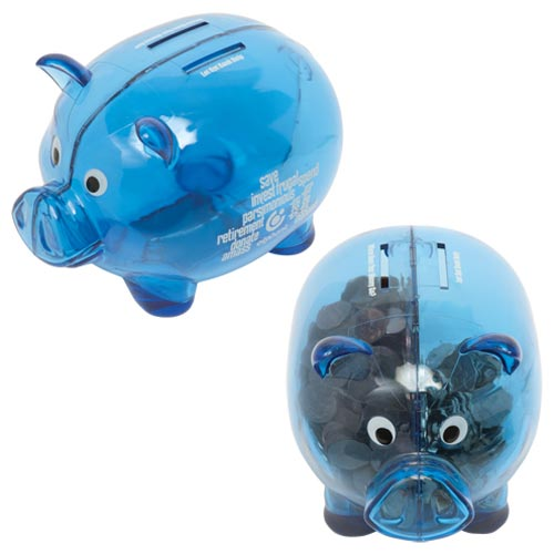 Translucent Blue Dual Savings Piggy Bank