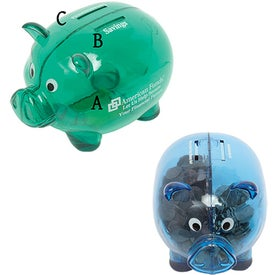 Dual Savings Piggy Bank Printed with Your Logo