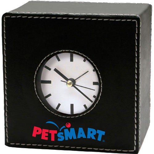 Faux Leather Alarm Clock