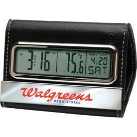 Branded Faux Leather Digital Travel/Desk Clock